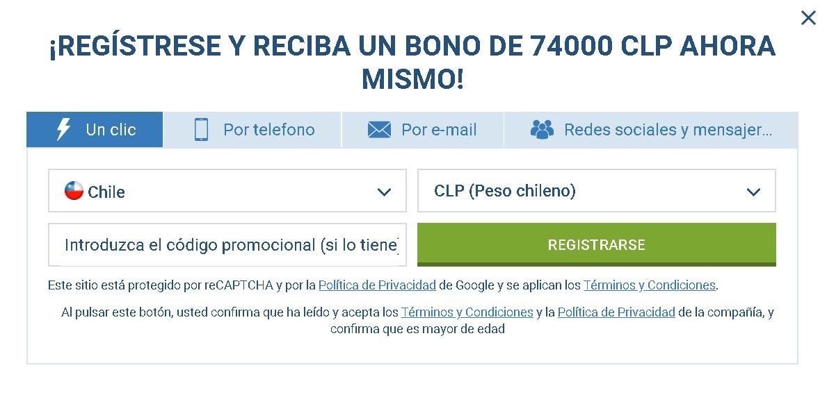 1xBet registro Chilie
